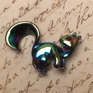 Vintage Iridescent Squirrel Pin
